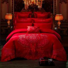 2018新款-60长绒棉多件套系列(礼进行曲红) 标准(1.5m-1.8m床) 床盖四件套