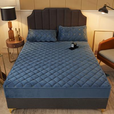 2020新款-刺绣夹棉水晶绒单品床笠 0.9m 宾利蓝