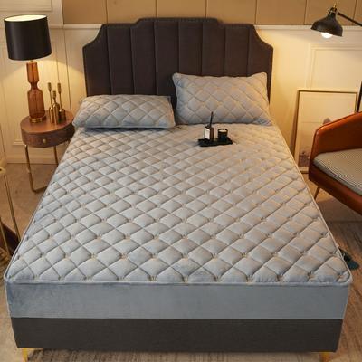 2020新款-刺绣夹棉水晶绒单品床笠 0.9m 暖阳灰