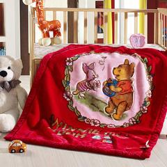 卡通拉舍尔双层加厚保暖冬季婴儿毯小孩子童毯宝宝珊瑚绒毯子 105*135 维尼小熊