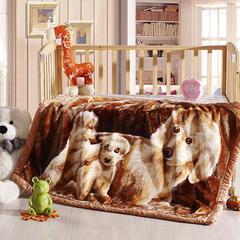 卡通拉舍尔双层加厚保暖冬季婴儿毯小孩子童毯宝宝珊瑚绒毯子 105*135 幸福乐园