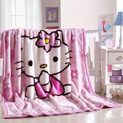 卡通拉舍尔毛毯双层加厚保暖毛巾被学生宿舍秋冬珊瑚绒盖毯1.5 150*200CM kitty猫 粉