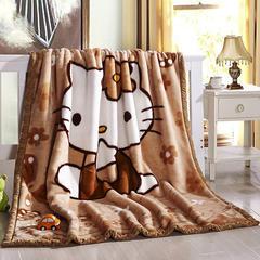 卡通拉舍尔毛毯双层加厚保暖毛巾被学生宿舍秋冬珊瑚绒盖毯1.5 150*200CM kitty猫 棕