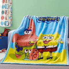 卡通拉舍尔毛毯双层加厚保暖毛巾被学生宿舍秋冬珊瑚绒盖毯1.5 150*200CM 海绵宝宝