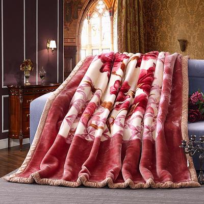 超柔交织拉舍尔毛毯9斤 200*230 浓情绽放