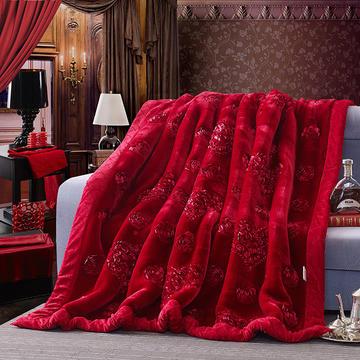 宫喜毯业 高档婚庆绣花毛毯9-10斤