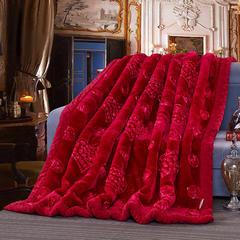 宫喜毯业 高档婚庆绣花毛毯9-10斤 200*230CM9斤 暗红