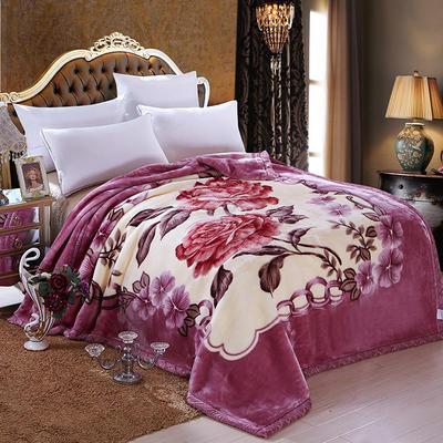 拉舍尔毛毯双层加厚秋冬季盖毯被子学生单双人珊瑚绒毯 150X200cm5斤 荣华富贵