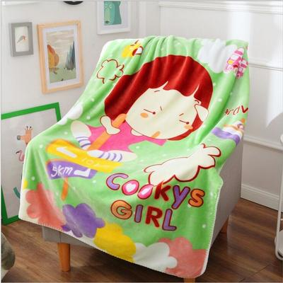 超柔儿童卡通盖毯双层加厚三角针定位版厂家直供网销批发一件代发 100cmx140cm 饼干女孩
