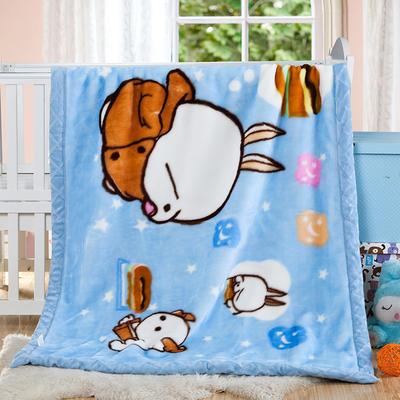 卡通拉舍尔双层加厚保暖冬季婴儿毯小孩子童毯宝宝珊瑚绒毯子 105*135 流氓兔蓝