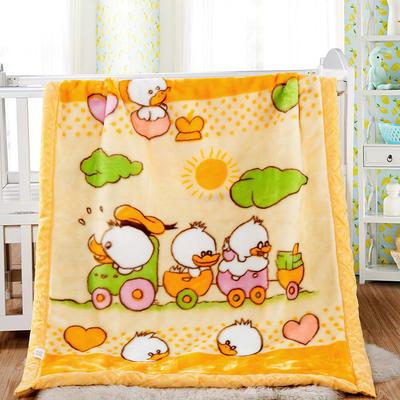 卡通拉舍尔双层加厚保暖冬季婴儿毯小孩子童毯宝宝珊瑚绒毯子 105*135 幸运之星黄