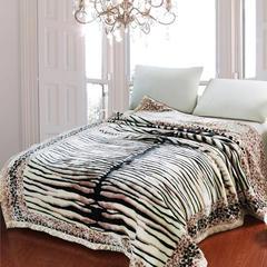 拉舍尔毛毯双层加厚秋冬季盖毯被子学生单双人珊瑚绒毯 150X200cm5斤 虎皮