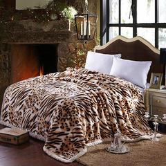 拉舍尔毛毯双层加厚秋冬季盖毯被子学生单双人珊瑚绒毯 150X200cm5斤 黄豹纹