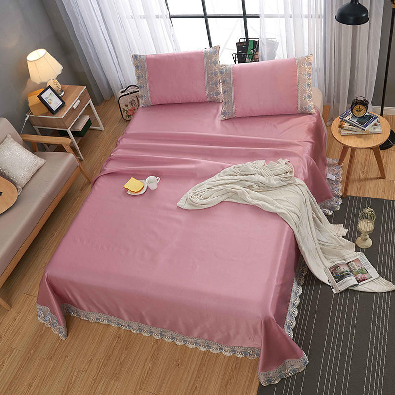 素色蕾丝水洗冰丝席 250x250cm 蕾丝粉红