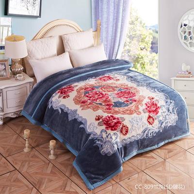 5D雕花拉舍尔毛毯 200cmx230cm 蓝灰