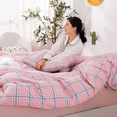 2020新款无印风全棉色织水洗棉四件套全棉单件套三件套纯色四件套 1.2m床床单款三件套 理想生活--粉
