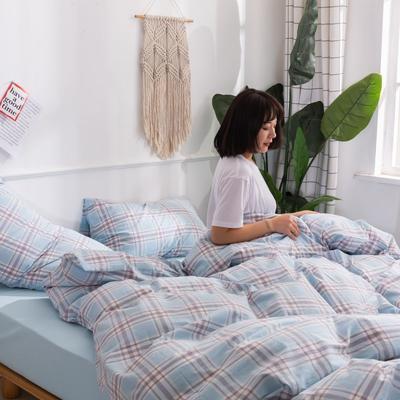 2020新款无印风全棉色织水洗棉四件套全棉单件套三件套纯色四件套 1.2m床床单款三件套 理想生活--兰