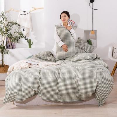 2020新款无印风全棉色织水洗棉四件套全棉单件套三件套纯色四件套 1.2m床床单款三件套 绿小格2