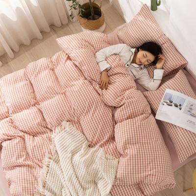2020新款无印风全棉色织水洗棉四件套全棉单件套三件套纯色四件套 1.2m床床单款三件套 小格粉2