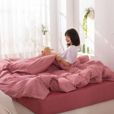 2020新款无印风全棉色织水洗棉四件套全棉单件套三件套纯色四件套 1.2m床床单款三件套 艳条--红