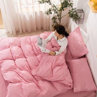 2020新款无印风全棉色织水洗棉单品被套 1.5m床--200*230cm 粉红小格