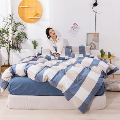 2020新款无印风全棉色织水洗棉单品被套 1.2m床--160*210cm 蓝大格