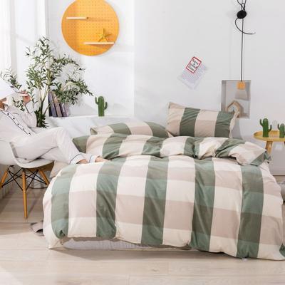 2020新款无印风全棉色织水洗棉单品被套 1.2m床--160*210cm 绿大格2