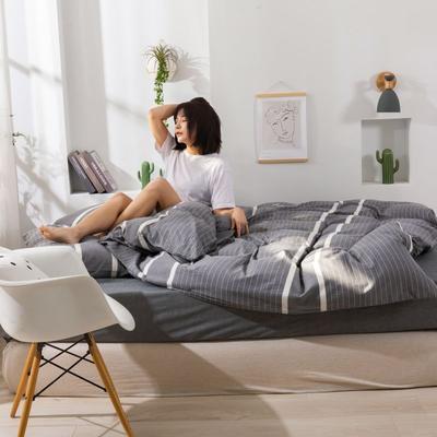 2020新款无印风全棉色织水洗棉单品被套 1.2m床--160*210cm 千霜