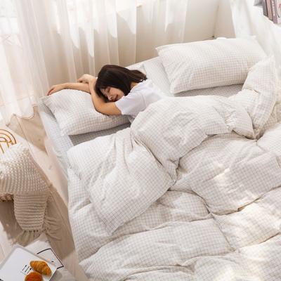 2020新款无印风全棉色织水洗棉单品被套 1.2m床--160*210cm 青春告白--白