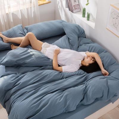 2020新款无印风全棉色织水洗棉单品被套 1.2m床--160*210cm 青春告白--兰