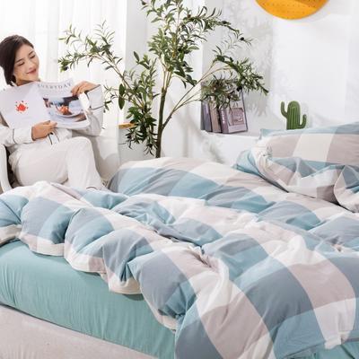 2020新款无印风全棉色织水洗棉单品被套 1.2m床--160*210cm 天兰大格