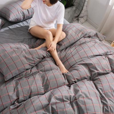 2020新款无印风全棉色织水洗棉单品被套 1.2m床--160*210cm 维京格--灰