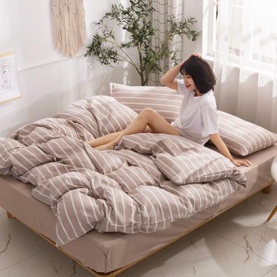 2020新款无印风全棉色织水洗棉单品被套 1.2m床--160*210cm 星条--咖