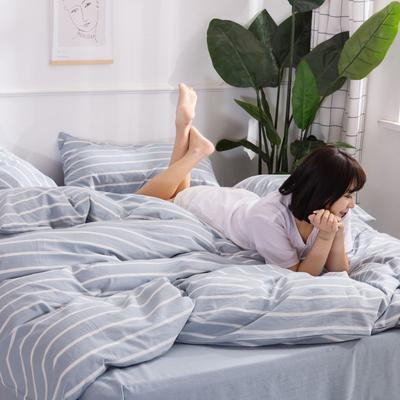 2020新款无印风全棉色织水洗棉单品被套 1.2m床--160*210cm 星条-兰