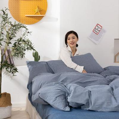 2020新款无印风全棉色织水洗棉单品被套 1.2m床--160*210cm 艳条--蓝