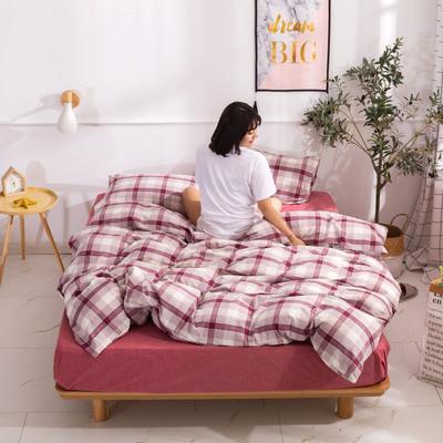 2020新款无印风全棉色织水洗棉单品被套 1.2m床--160*210cm 英伦--红
