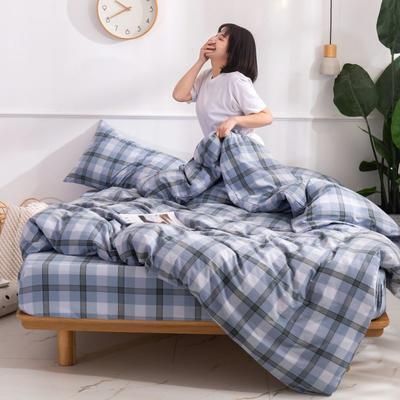 2020新款无印风全棉色织水洗棉单品被套 1.2m床--160*210cm 英伦-绿