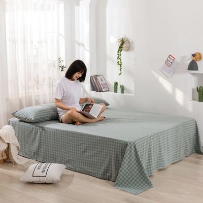 2020新款无印风全棉色织水洗棉单品床单 1.2m床--160*230cm 布丁格-绿