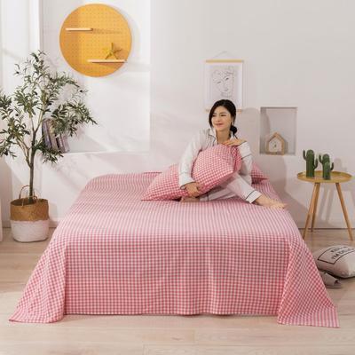 2020新款无印风全棉色织水洗棉单品床单 1.5m床--200*230cm 粉红小格