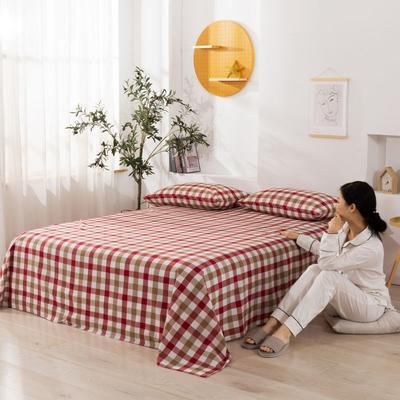 2020新款无印风全棉色织水洗棉单品床单 1.2m床--160*230cm 富士格-红