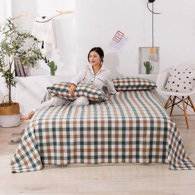 2020新款无印风全棉色织水洗棉单品床单 1.2m床--160*230cm 富士格-绿