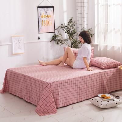 2020新款无印风全棉色织水洗棉单品床单 1.2m床--160*230cm 光阴-粉