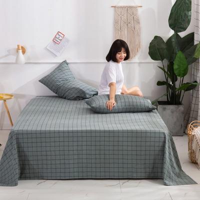 2020新款无印风全棉色织水洗棉单品床单 1.2m床--160*230cm 光阴-绿