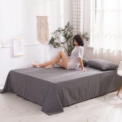 2020新款无印风全棉色织水洗棉单品床单 1.5m床--200*230cm 黑白小格