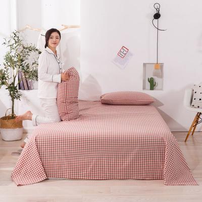 2020新款无印风全棉色织水洗棉单品床单 1.5m床--200*230cm 桔红小格