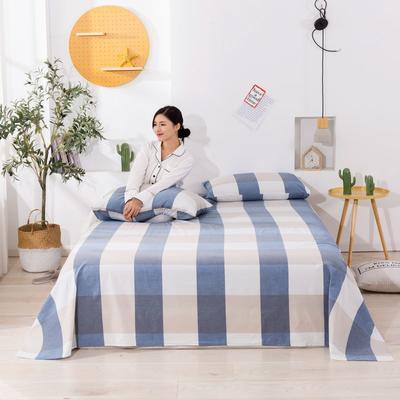 2020新款无印风全棉色织水洗棉单品床单 1.5m床--200*230cm 蓝大格