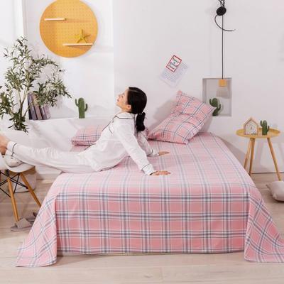 2020新款无印风全棉色织水洗棉单品床单 1.5m床--200*230cm 理想生活-粉