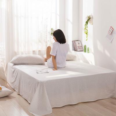2020新款无印风全棉色织水洗棉单品床单 1.5m床--200*230cm 青春告白-白