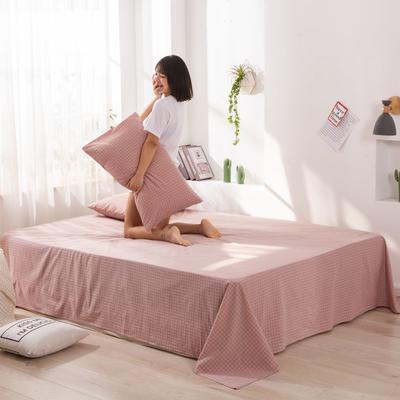 2020新款无印风全棉色织水洗棉单品床单 1.5m床--200*230cm 青春告白-粉