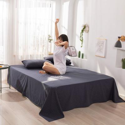 2020新款无印风全棉色织水洗棉单品床单 1.5m床--200*230cm 青春告白-灰